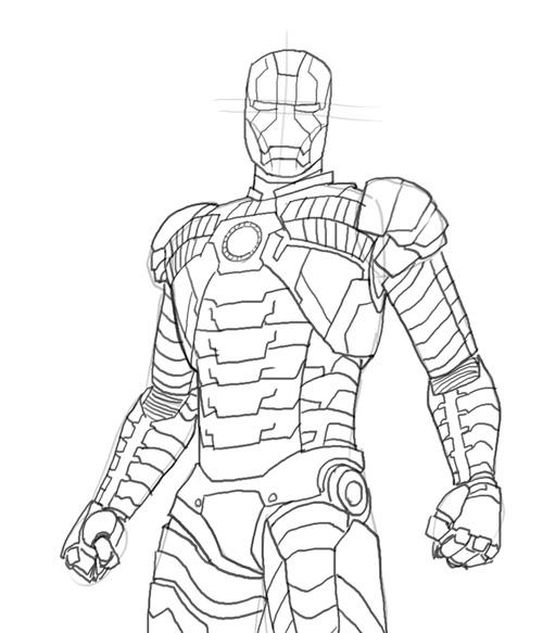 500x583 how to draw iron man mk 5 - Coloriage Iron Man