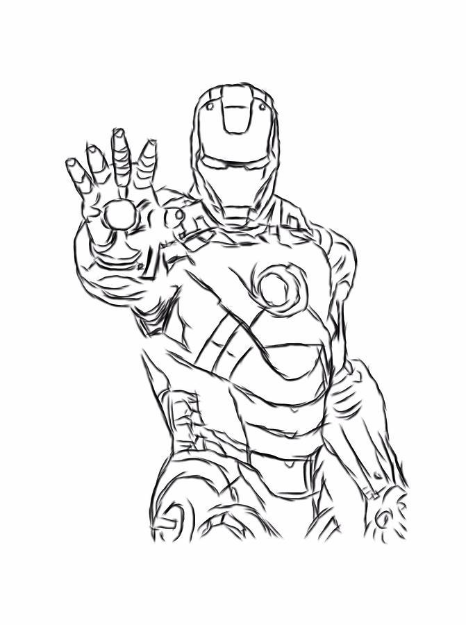 671x900 Iron Man Black Outline Digital Part 3 Digital Art By Nicholas Milligan
