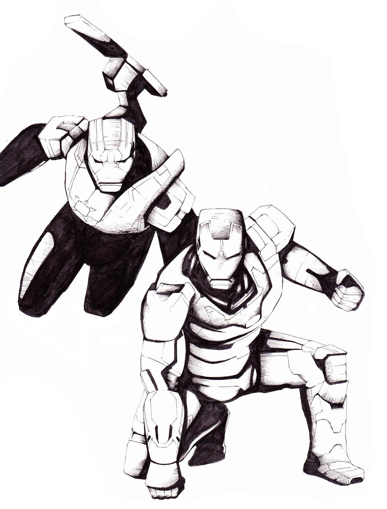 1280x1684 Iron Man And Iron Patriot By Retrogorgon