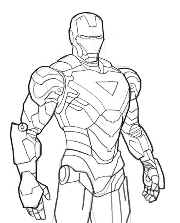 600x743 Iron Man Mark 6 Coloring Page