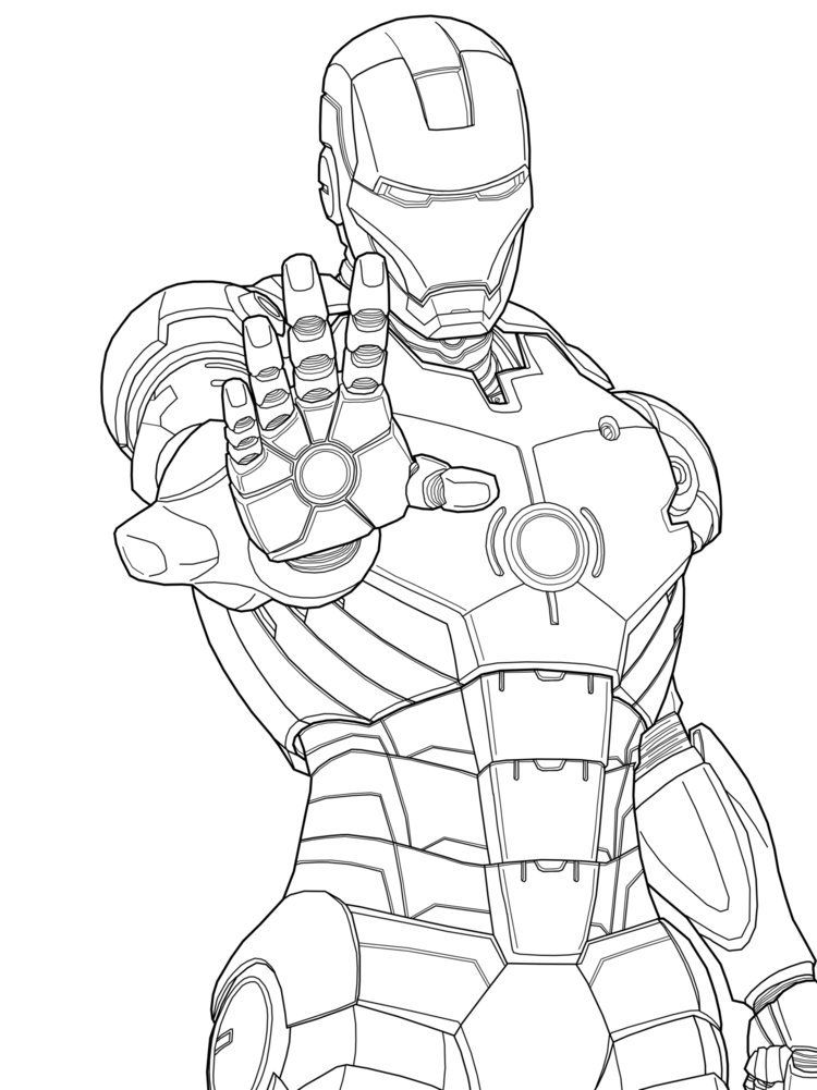 750x1001 Iron Man Marvel Coloring Pages Free Printable For Adult