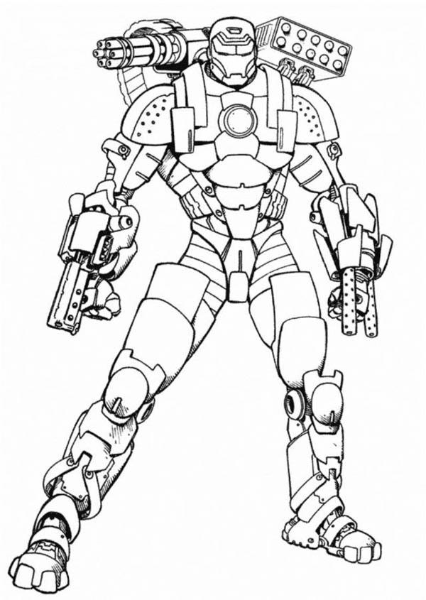 600x845 Iron Man War Machine Type Coloring Page
