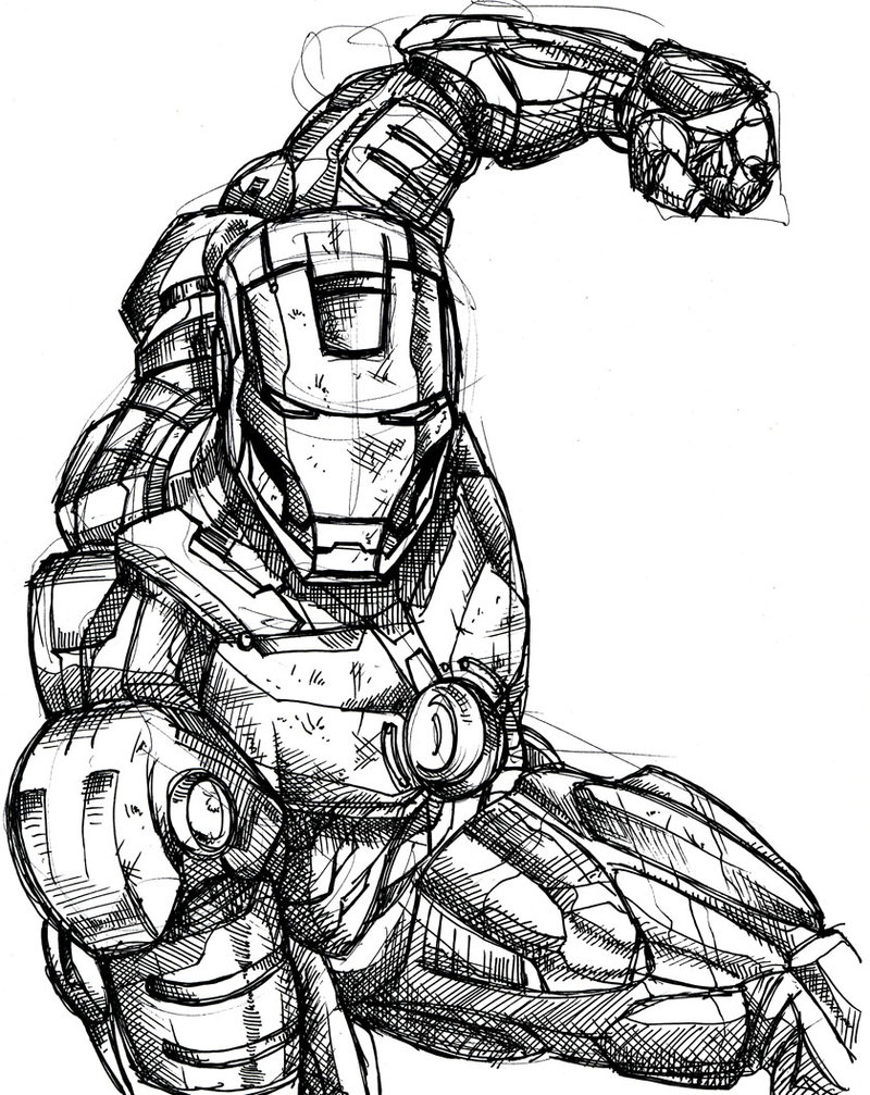 800x1007 Ironman Inked Sketch By Greathouse