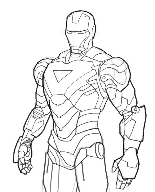 500x619 How To Draw Iron Man
