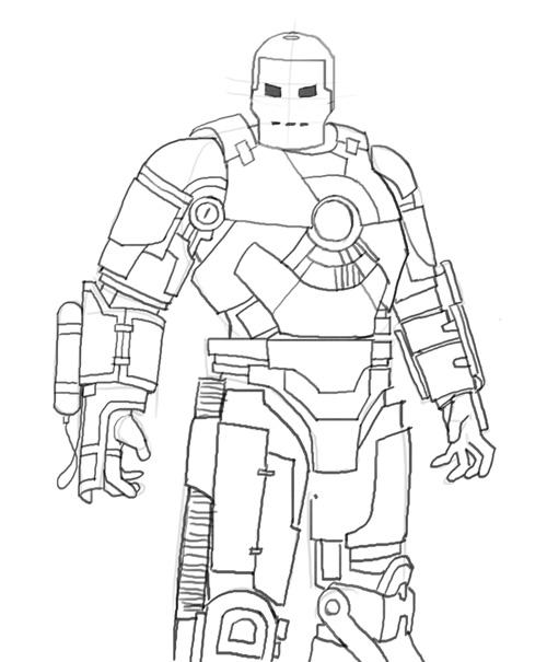500x605 How To Draw Iron Man Mk 1