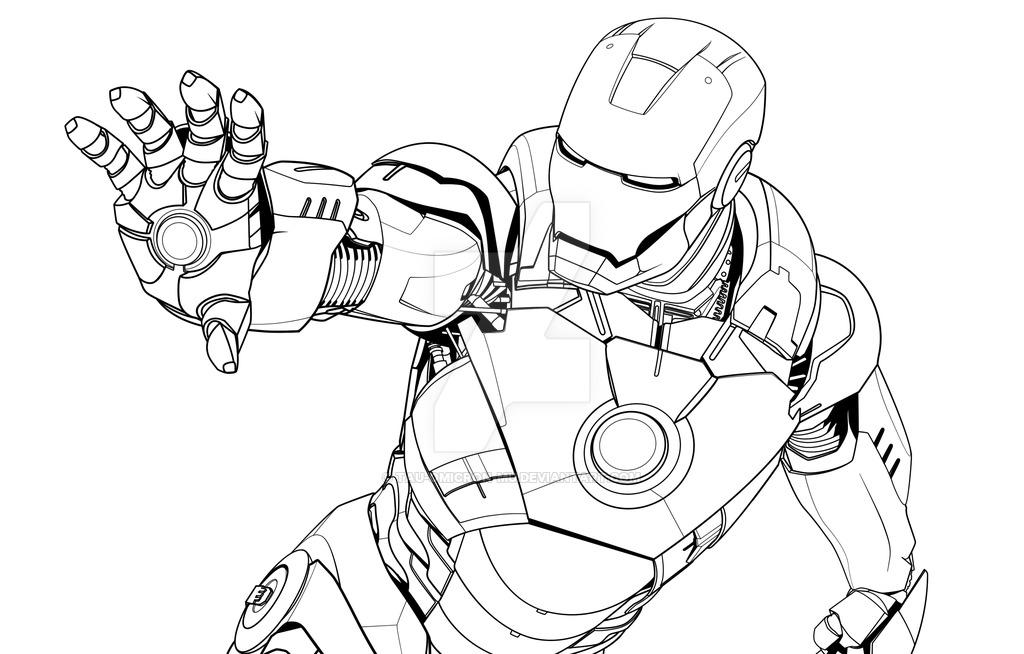 1024x654 Iron Man Mark Vii Lineart By Tau Omicron Mu