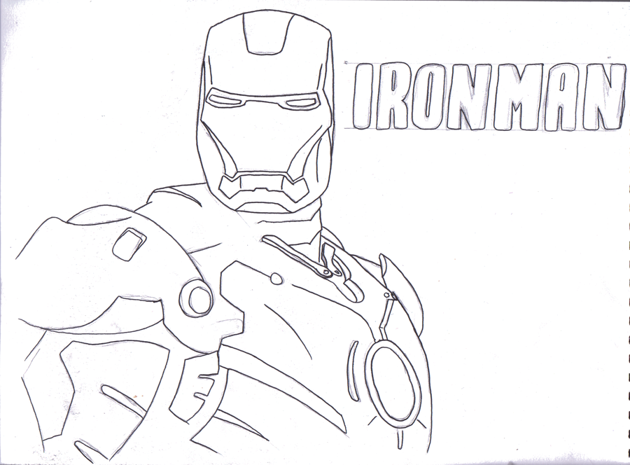 900x664 Ironman Line Drawing By Welshieb