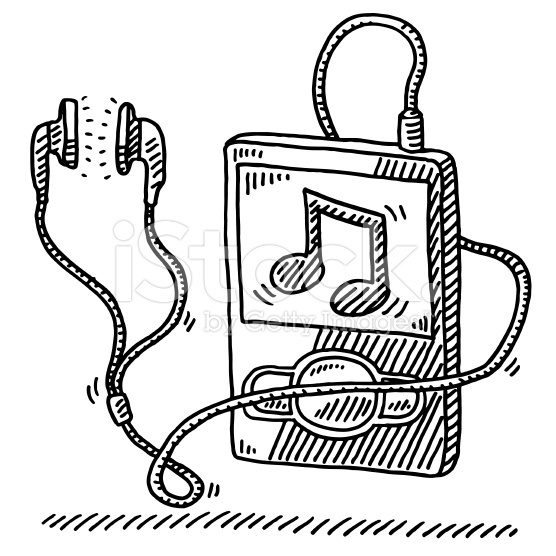 556x556 Hand Drawn Vector Drawing Of A Mp3 Player And Earphones, A Music