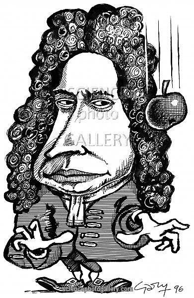 391x600 Isaac Newton, Caricature