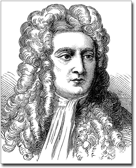 554x687 Drawing Portrait Of Sir Isaac Newton 8x10 Silver