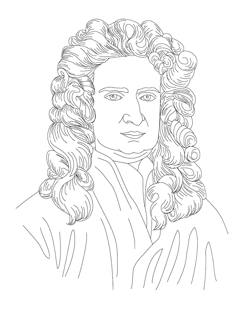800x1034 Isaac Newton Face Coloring Page For Kids Kids Coloring Pages