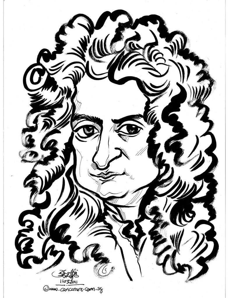 810x1024 Caricatuer Of Isaac Newton
