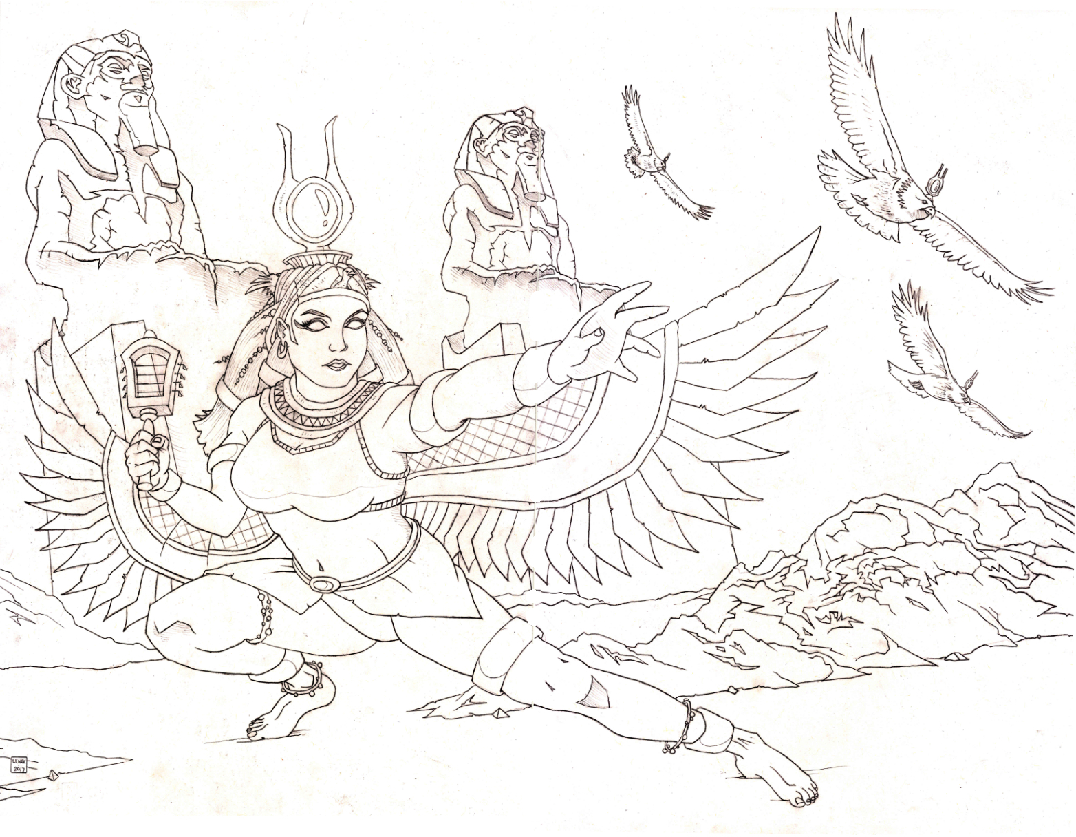 1564x1216 Goddess Isis And Hawks Jason Lenox