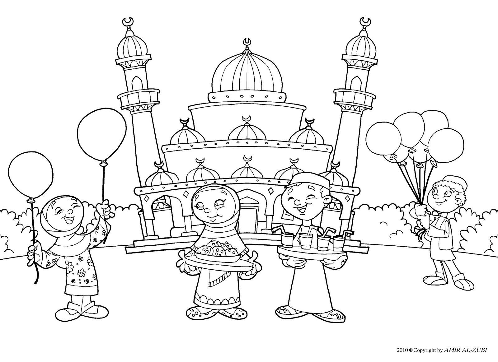 1600x1164 New Muslim Kids Eid Coloring Page