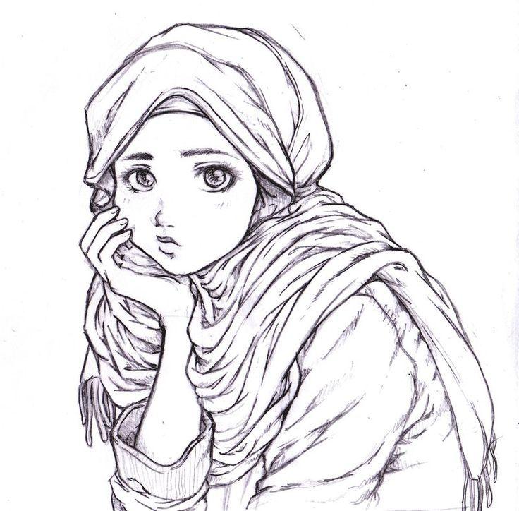736x724 Thinking Muslim Girl (Drawing) Art Muslim Girls