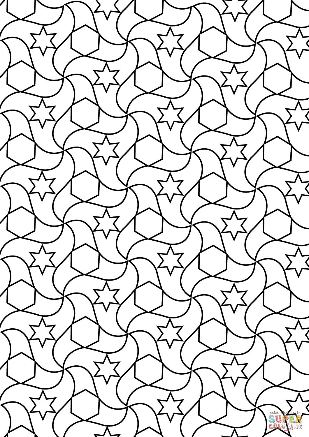 1060x1500 Alhambra Tessellations Coloring Page Free Printable Coloring Pages