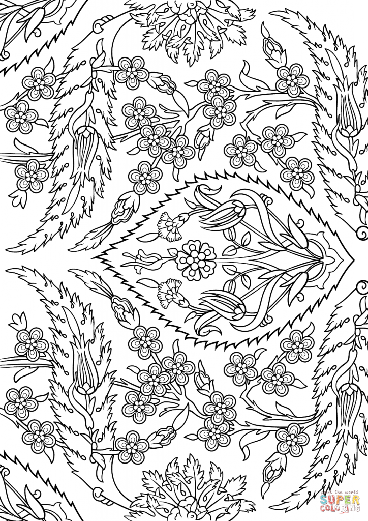 724x1024 Turkish Tiles Islamic Art Coloring Page