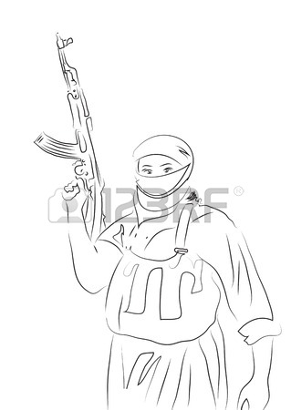 319x450 Drawing Of Islamic State Fighter Made In 2d Software Stock Photo