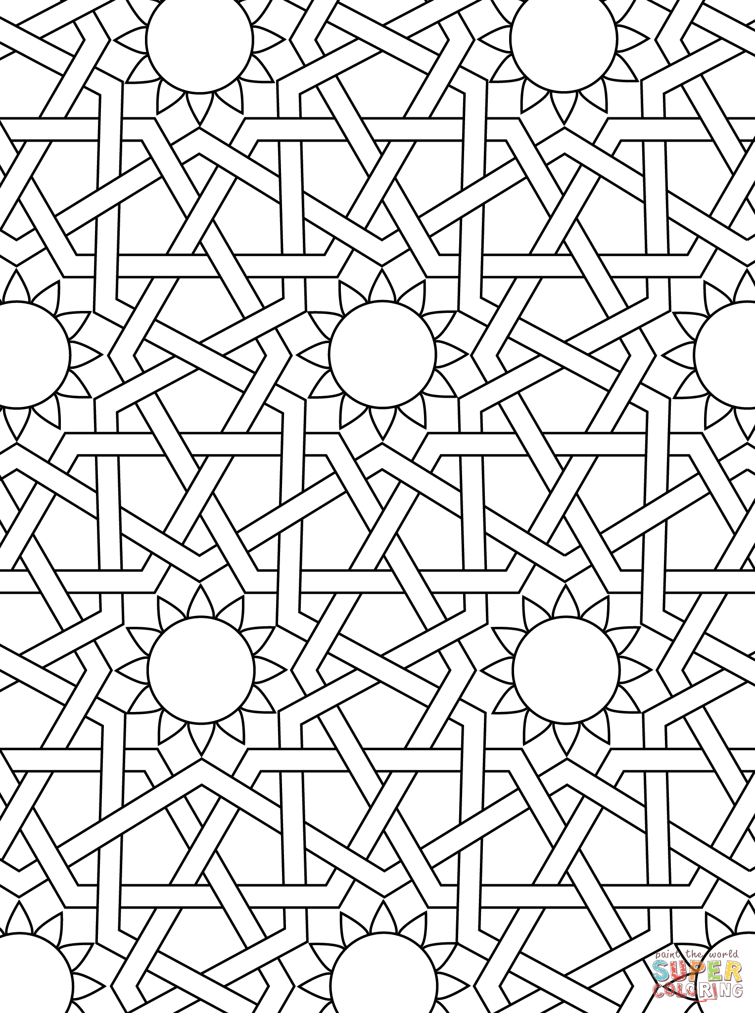 1526x2046 Islamic Ornament Mosaic Coloring Page Art Deco, Tessellations
