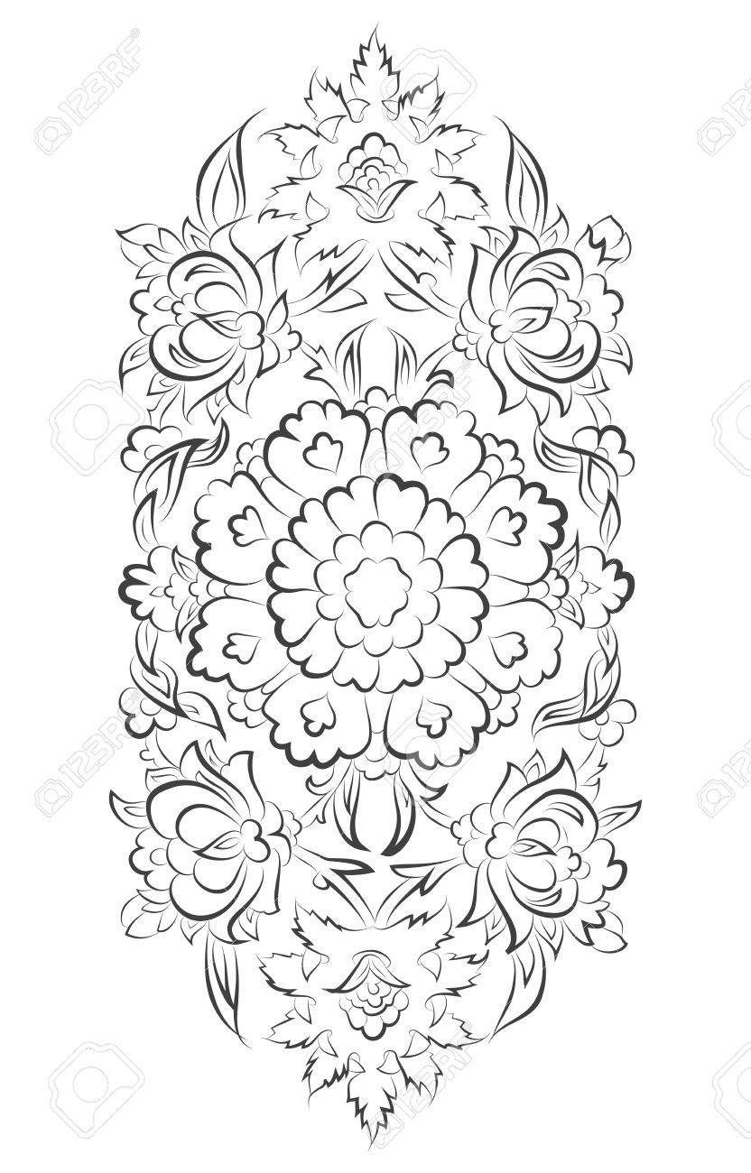 832x1300 Vector Islamic Ornament Drawing With Floral Decorations Royalty
