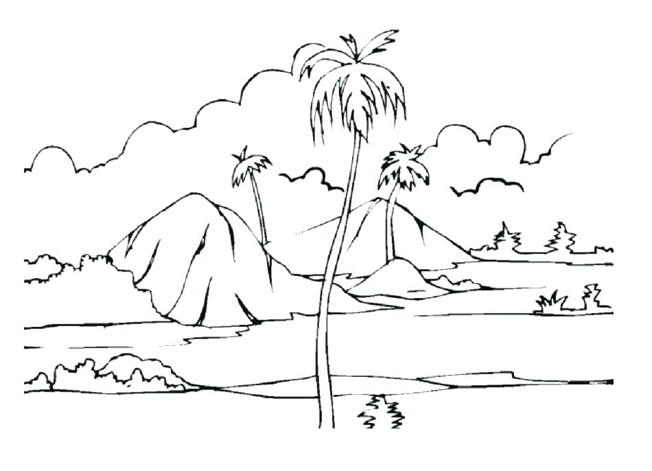 950x686 Island Coloring Page Desert Coloring Pages Tropical Island