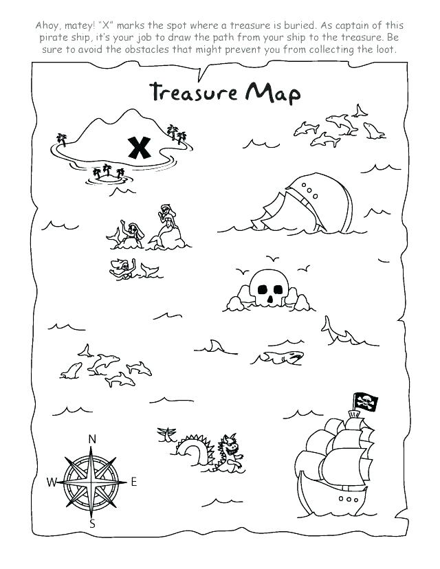 640x828 Treasure Map Coloring Pages Enchanting Pirate Printable Print To