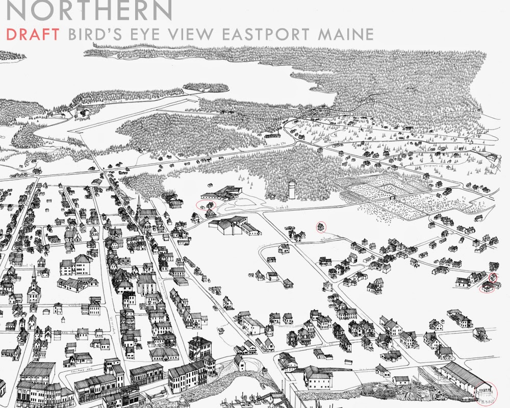1000x800 Turn Of The Centuries A Bird's Eye View Drawing Of Eastport Maine