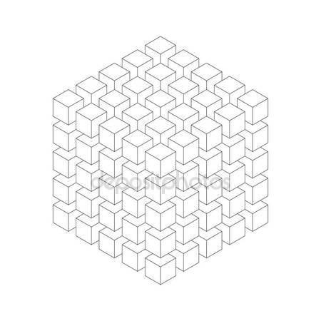 450x450 Geometric Cube Of Smaller Isometric Cubes. Abstract Design Element