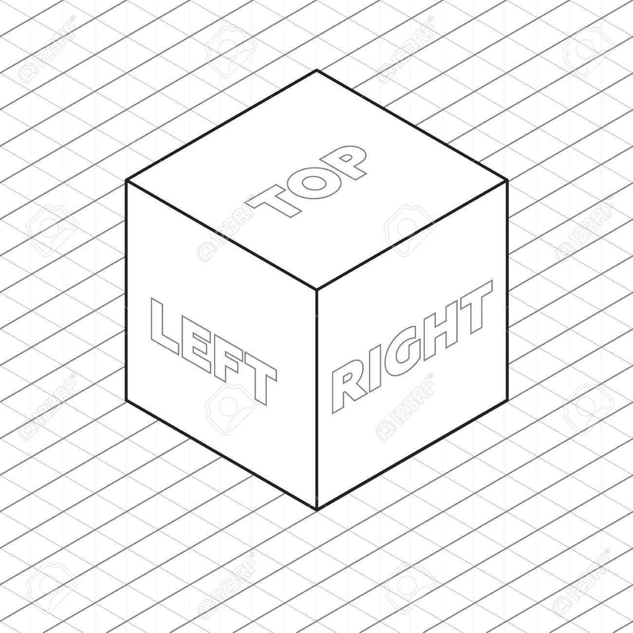 1300x1300 Cube Sides Isometric Grid Vector Illustration Grayscale Royalty