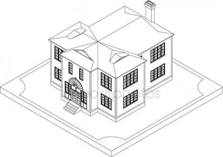 450x318 Contour Of Isometric House Stock Vector Sergeymarkov