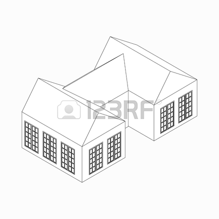 450x450 House With Attic Icon In Isometric 3d Style Isolated On White