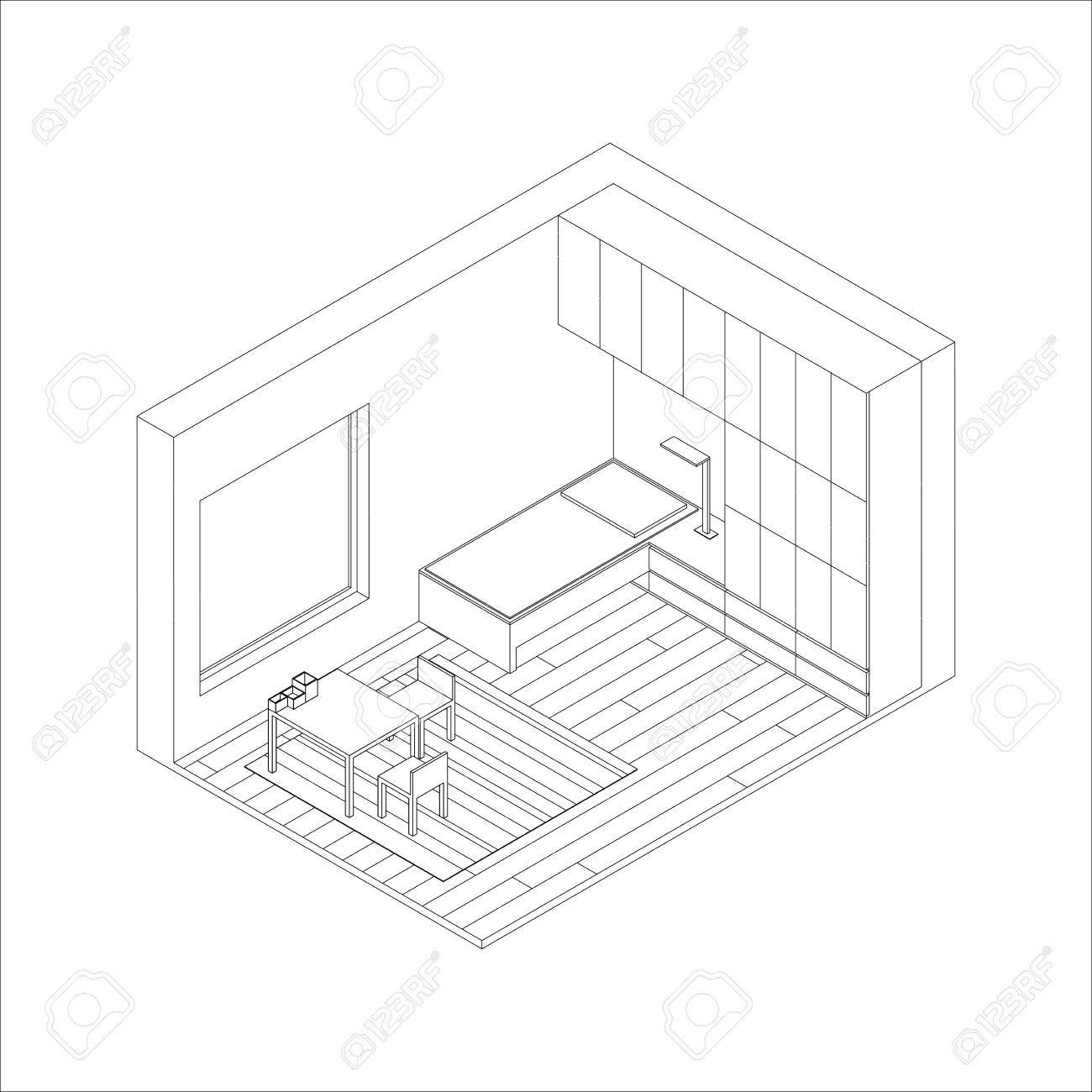 1300x1300 Illustration Of The Interior Of Children Room. Isometric View