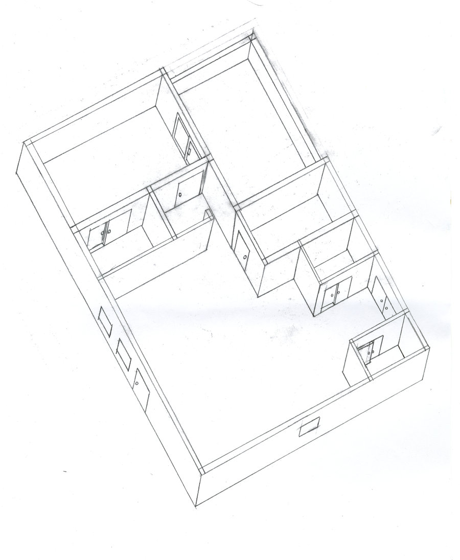 900x1096 Isometric Drawing Of House By Poorartman