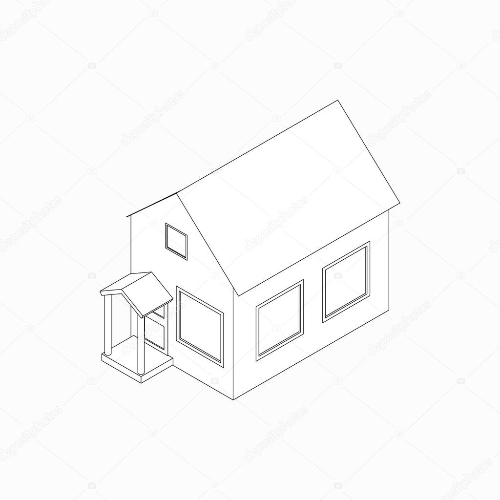 1024x1024 Bungalow Icon, Isometric 3d Style Stock Vector Ylivdesign