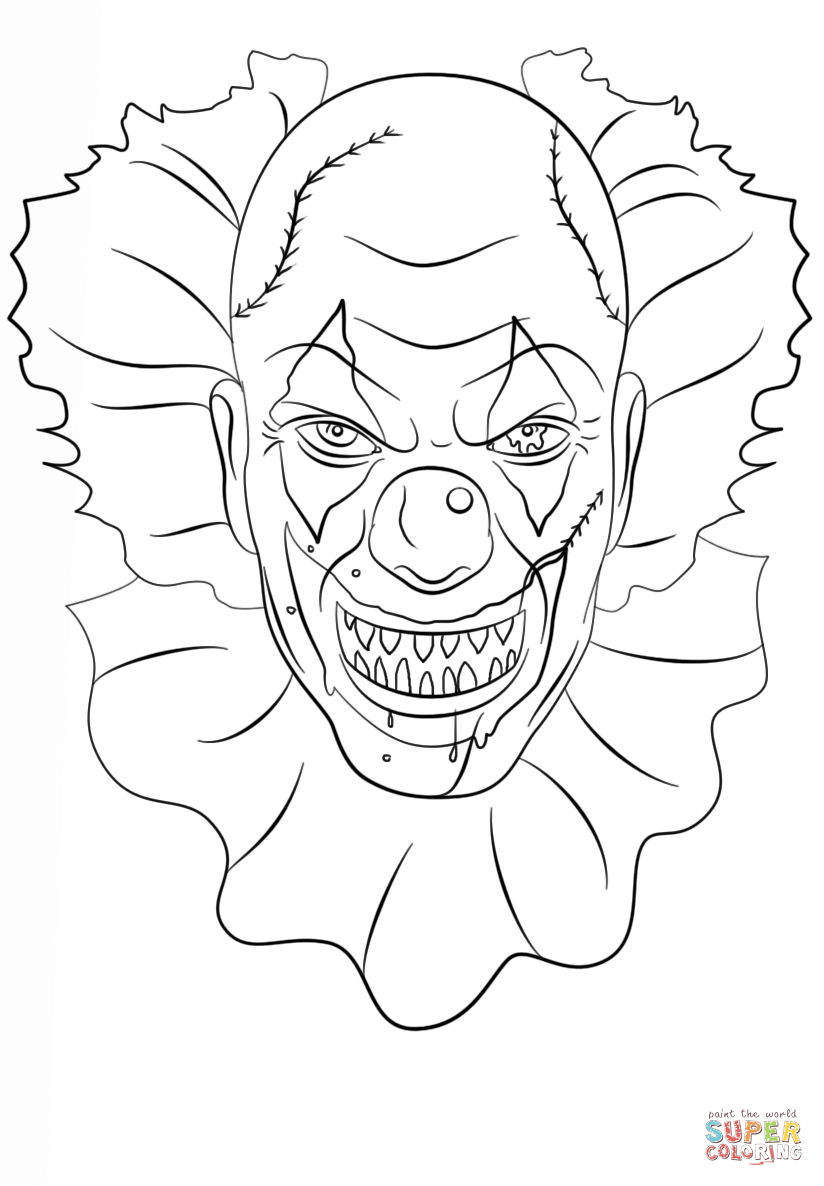 824x1186 Scary Clown Coloring Page Free Printable Coloring Pages