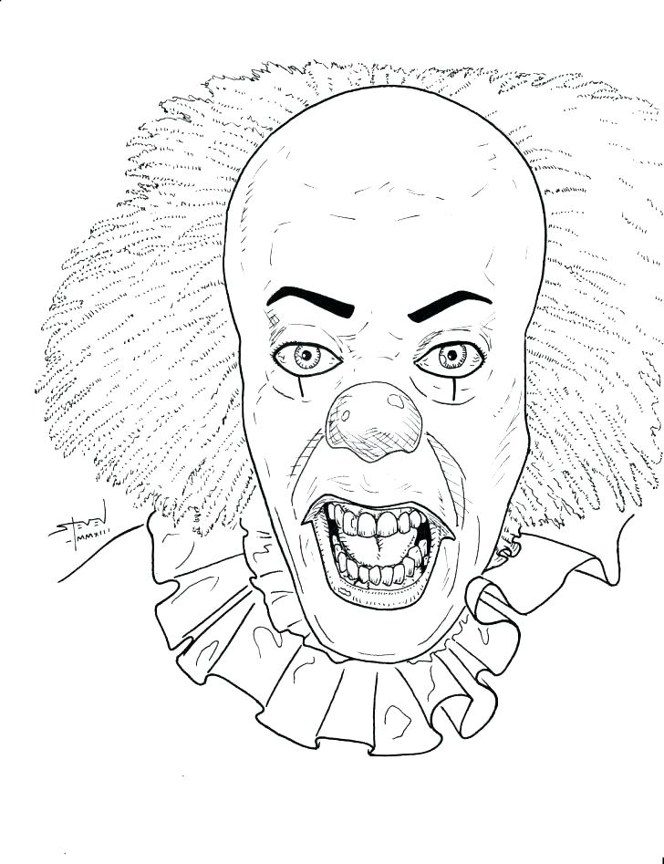 728x947 Evil Clown Coloring Pages Clown Coloring Sheets Clown Coloring