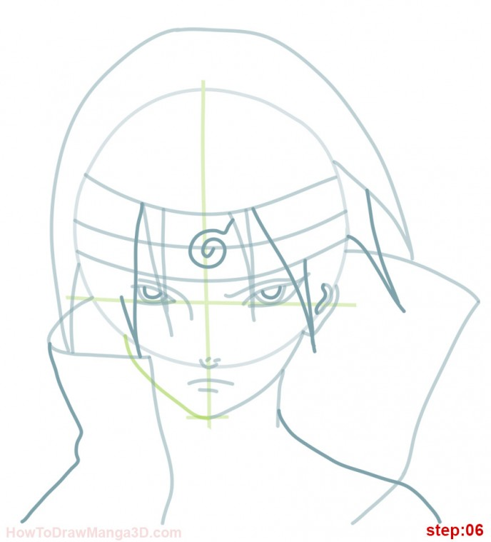 688x759 How To Draw Itachi From Naruto Step 06 Kurama Uchiwa