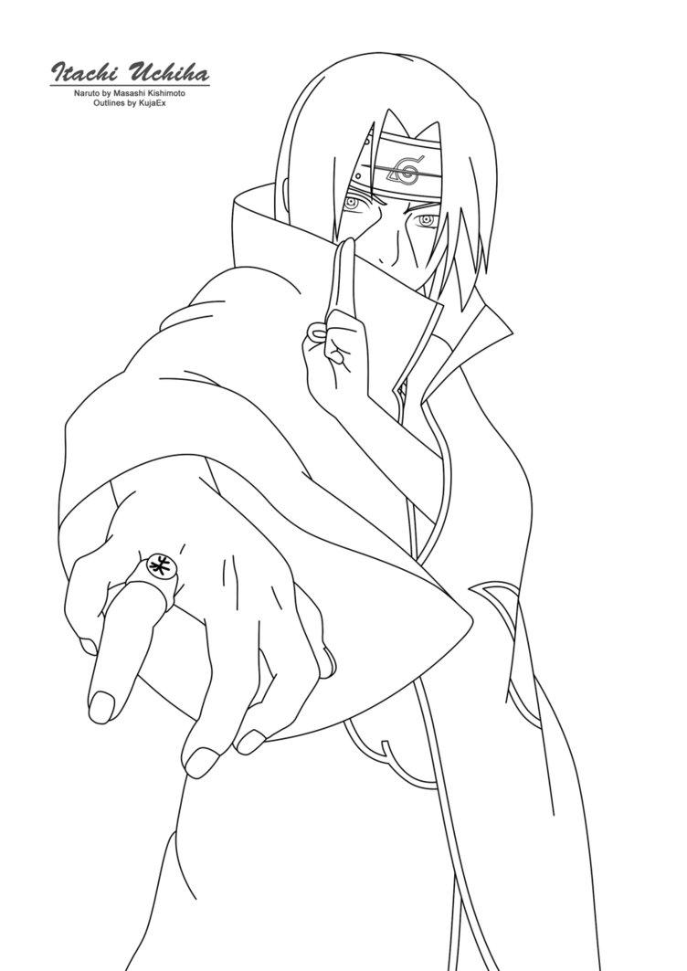 752x1063 Itachi Uchiha Outlines By Kujaex
