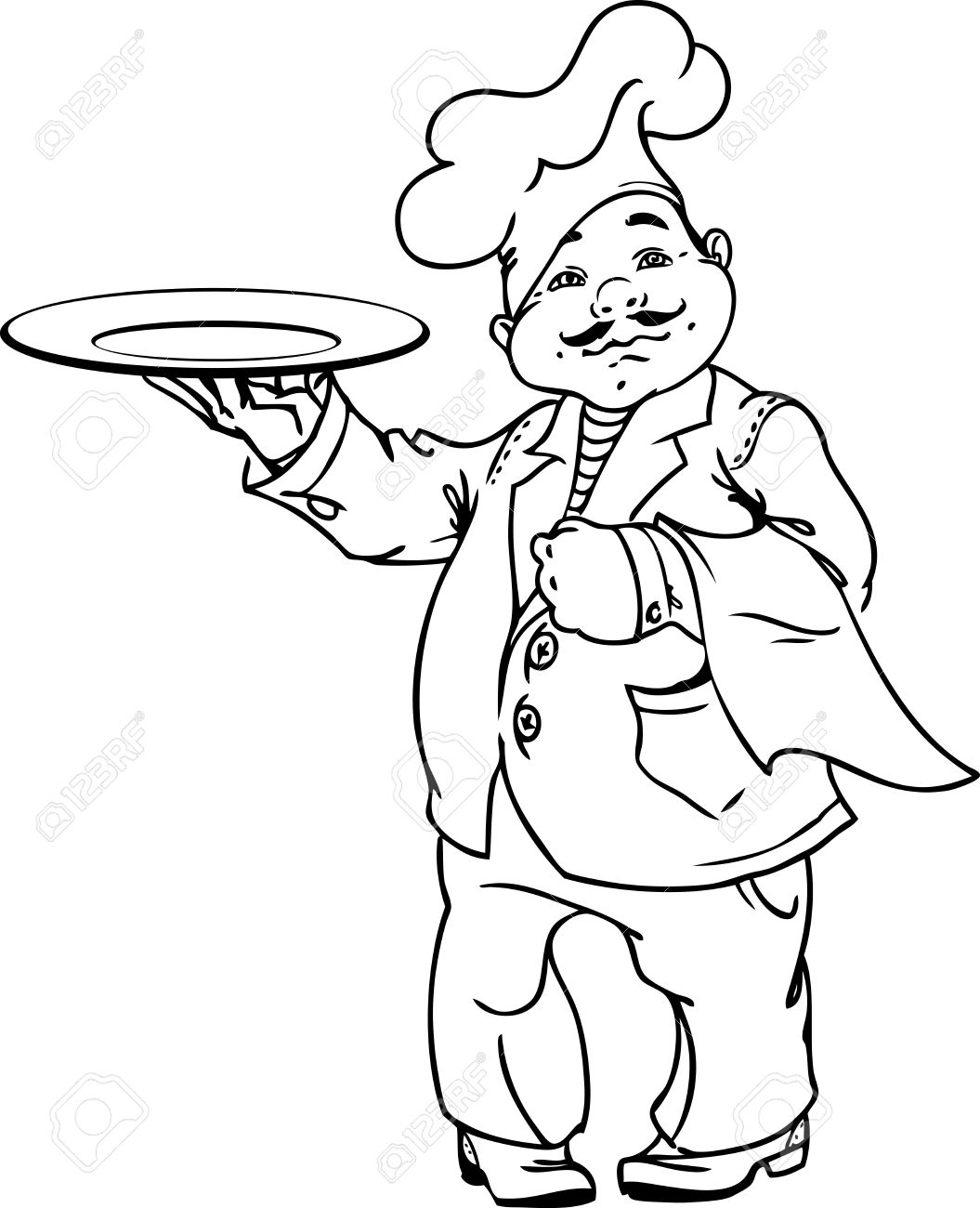 1055x1300 Cute Italian Chef With An Dish In Black And White For Coloring