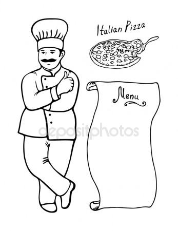 347x450 Illustration Of An Italian Cartoon Chef With A Freshly Baked Pizza