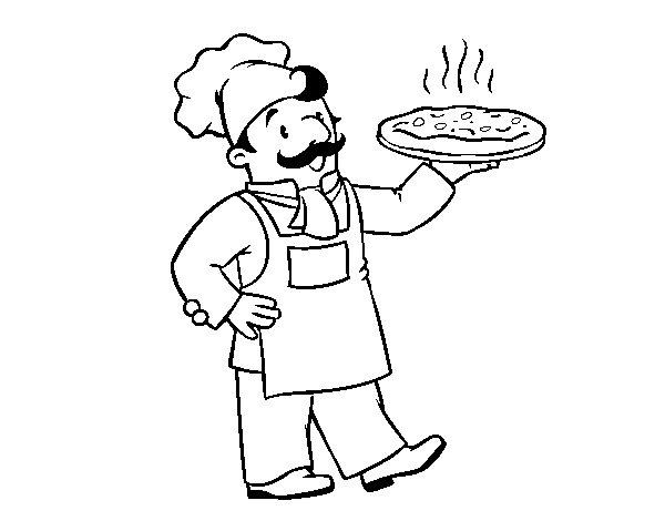 600x470 Italian Chef Coloring Page