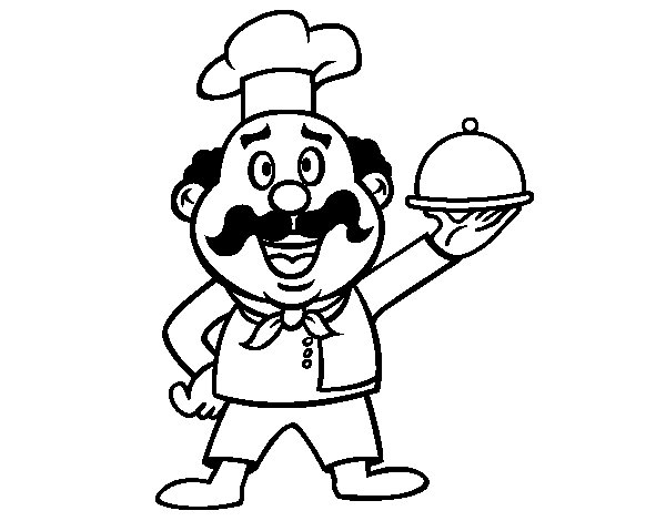 600x470 Italian Cook Coloring Page