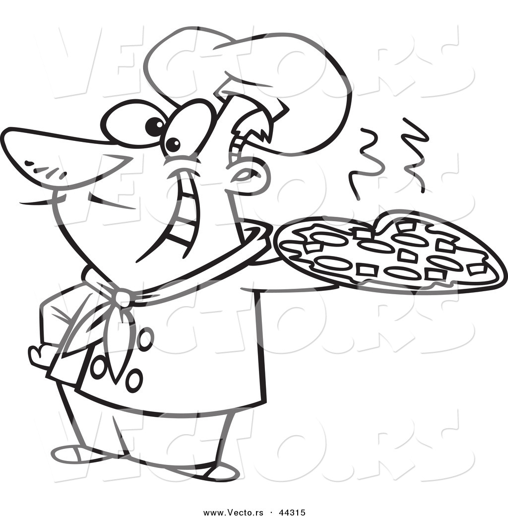 1024x1044 Vector Of A Happy Cartoon Italian Chef Holding A Pizza Pie