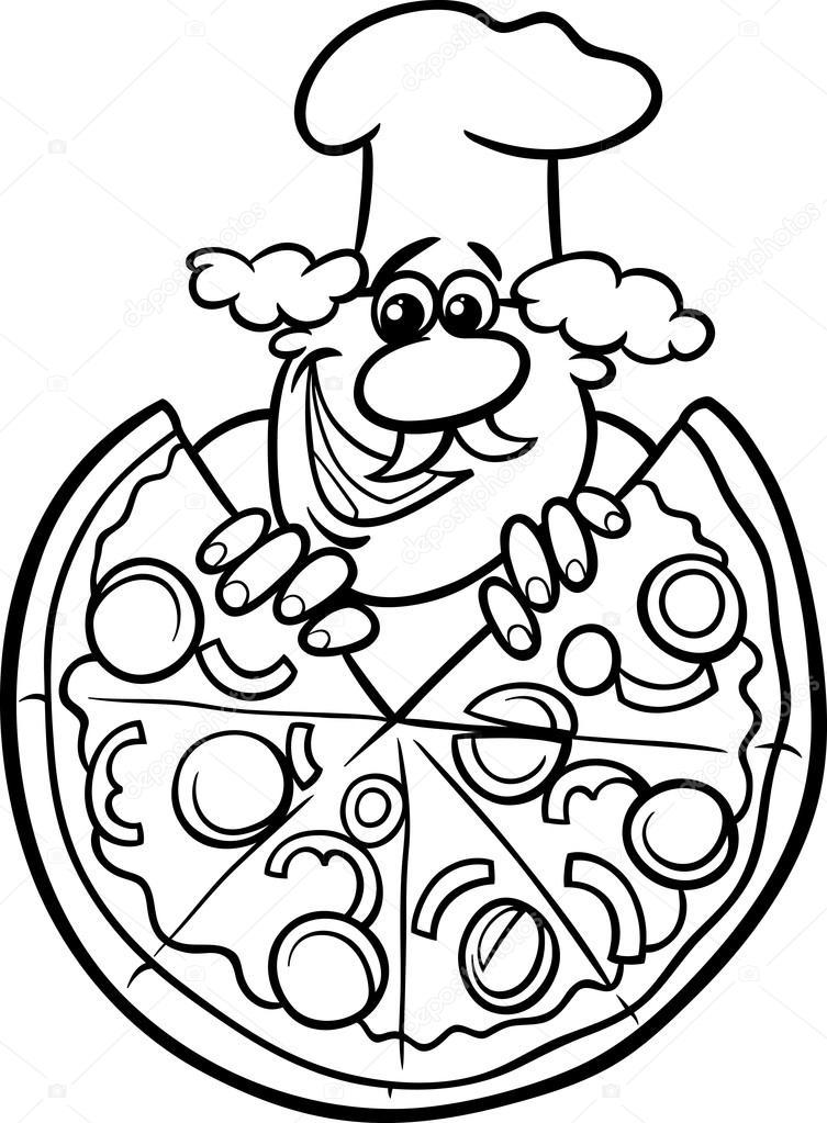 753x1023 Italian Pizza Cartoon Coloring Page Stock Vector Izakowski