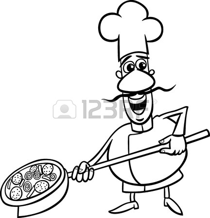 432x450 Cartoon Illustration Of Funny Italian Cook Or Chef With Pizza