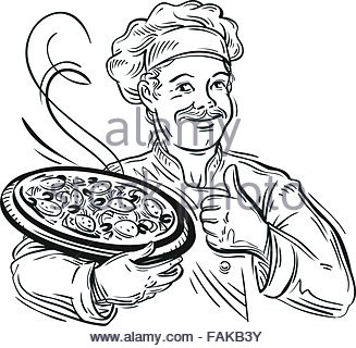 327x320 Cartoon Black Chef Or Baker Character Holding A Silver Cloche Food