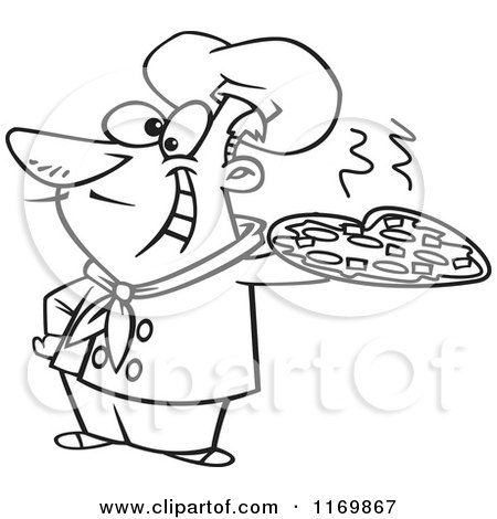 450x470 Cartoon Of An Outlined Happy Italian Chef Holding A Pizza Pie