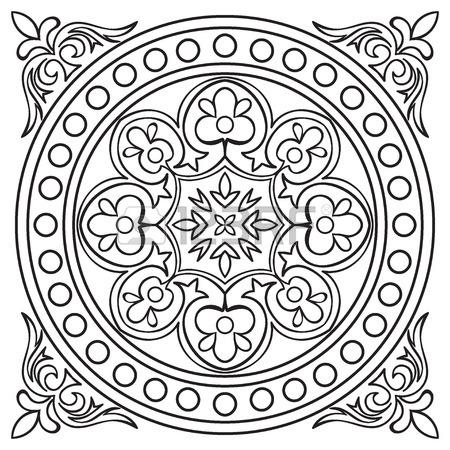 450x450 Hand Drawing Tile Vintage Black Line Pattern. Italian Majolica