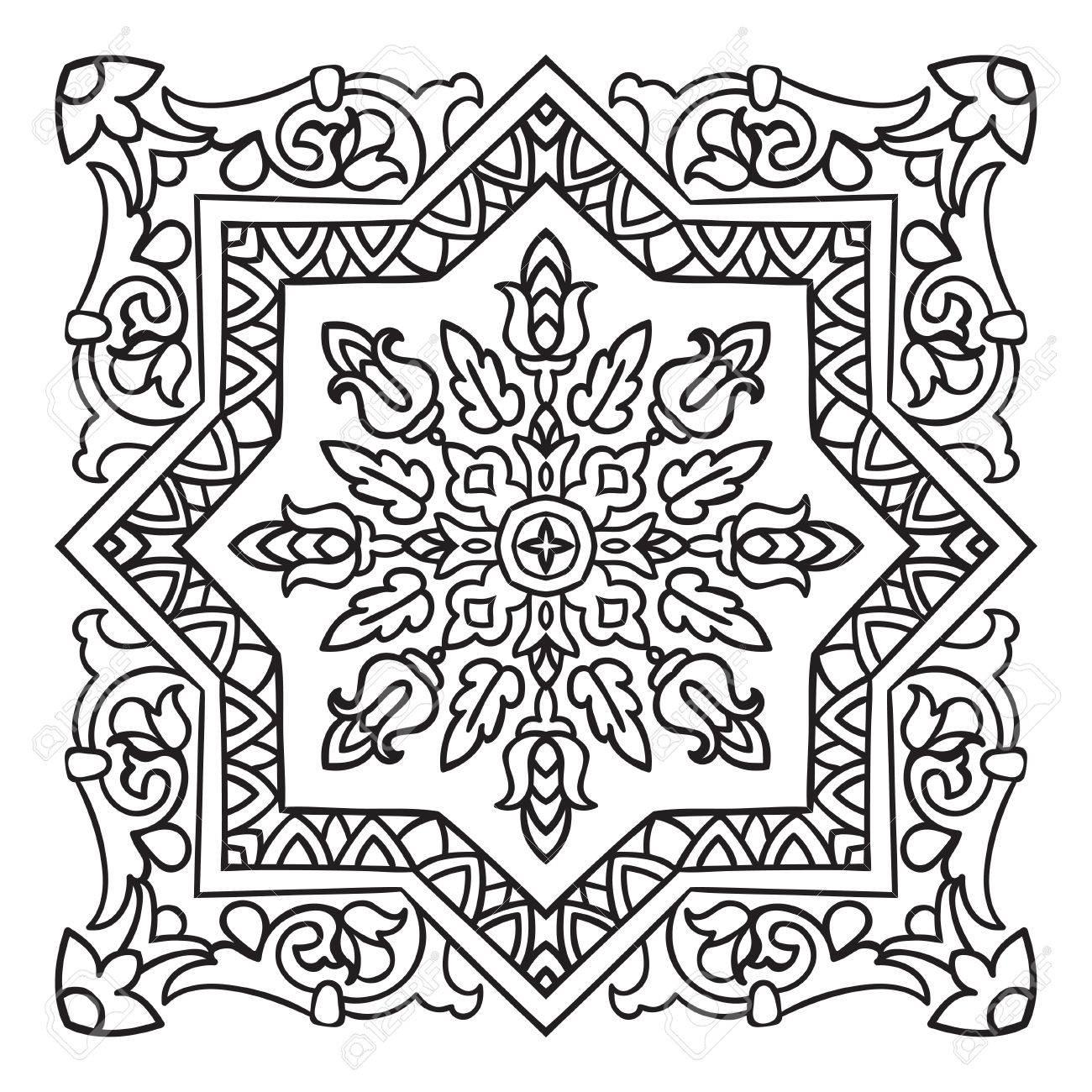 1300x1300 Hand Drawing Zentangle Element. Italian Majolica Style Black