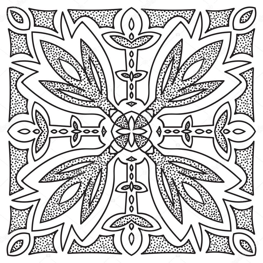 1024x1024 Hand Drawing Mandala Element. Italian Majolica Style Stock